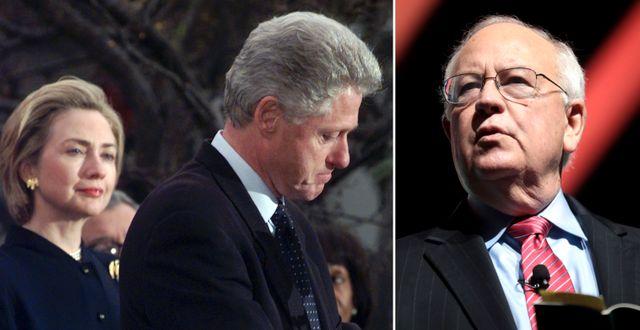 Hillary och Bill Clinton under riksrättsrättegången/Ken Starr. TT/Wikimedia