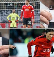 Manchester United-spelare deppar över ett av Wolfsburgs mål i sista matchen i CL. Kristoffer Olsson i Midtjylland i en tidigare match i Europa League. TT