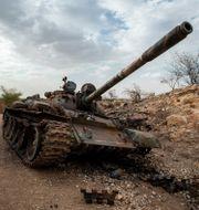 En förstörd pansarvagn i Tigray/ Arkivbild.  Ben Curtis / TT NYHETSBYRÅN