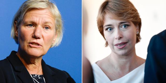 Annika Strandhäll (S) och den sparkade generaldirektören Ann-Marie Begler. Arkivbild. TT