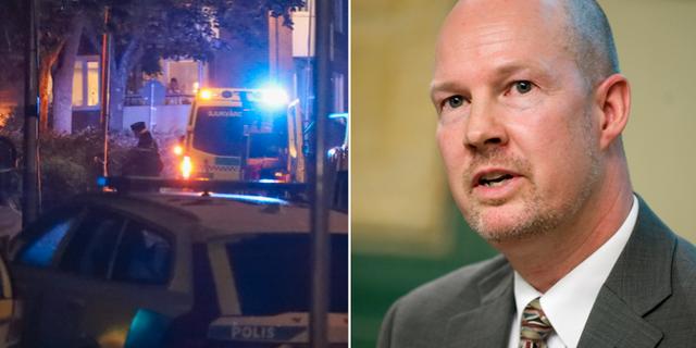 Bild från platsen där två personer sköts i söndags samt en bild på Nackas kommunalråd Mats Gerdau (M). TT