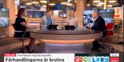 Maria Malmer Stenergard och Morgan Johansson i SVT:s Morgonstudion.  SVT