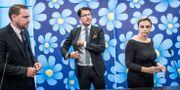 SD:s gruppledare Mattias Karlsson, partiledare Jimmie Åkesson och Paula Bieler. Tomas Oneborg/SvD/TT / TT NYHETSBYRÅN