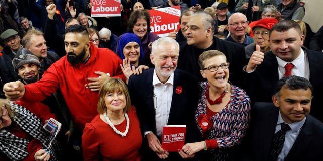 Jeremy Corbyn på valmöte under torsdagen. PHIL NOBLE / TT NYHETSBYRÅN