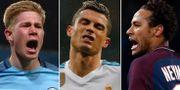 Manchester Citys Kevin De Bruyne, Real Madrids Cristiano Ronaldo och PSG:s Neymar. TT