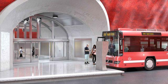 Illustrationsbild över busshållsplatsen i nya terminalen. SLL