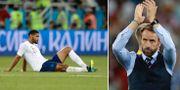 Englands Ruben Loftus-Cheek och förbundskapten Gareth Southgate efter förlusten mot Belgien TT