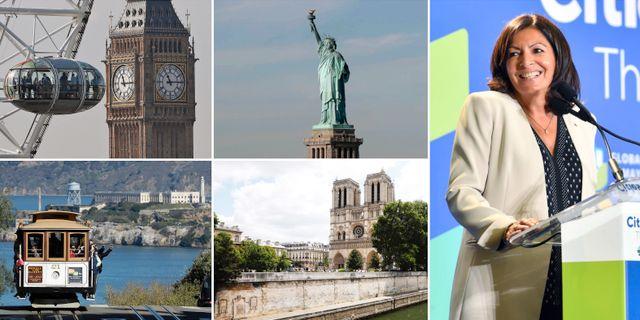 Till höger: Paris borgmästare Anne Hidalgo. TT