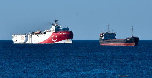 Det turkiska prospekteringsfartyget Oruc Reis.  Ibrahim Laleli / TT NYHETSBYRÅN
