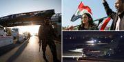 Al-Assad anhängare i Damaskus. Franska krigsflygplan innan avfärd mot Syrien. TT