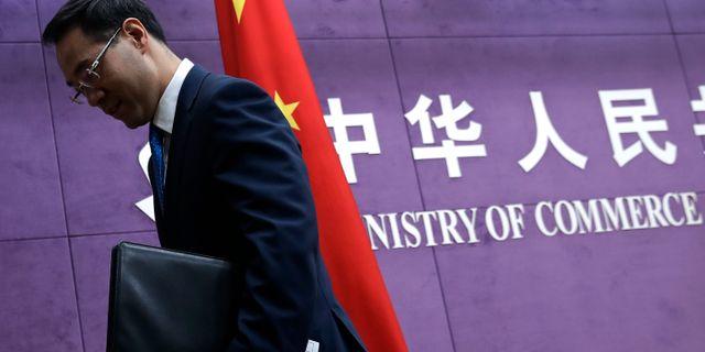 Kinesiska handelsdepartementets talesperson Gao Feng.  Andy Wong / TT NYHETSBYRÅN