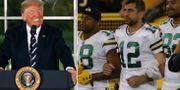 Donlad Trump och Aaron Rodgers under USA:s nationalsång med sitt Green Bay Packers.  TT.