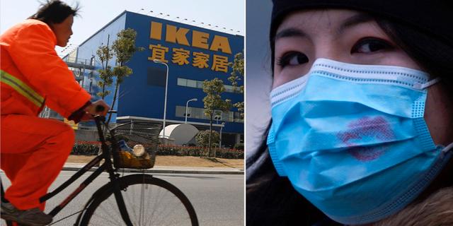 Ikea-varuhus i Kina/kvinna med munskydd. TT