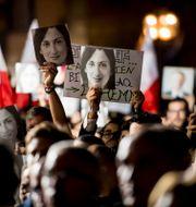 Demonstration efter mordet på Daphne Caruana Galizia/Arkivbild. Rene Rossignaud / TT NYHETSBYRÅN