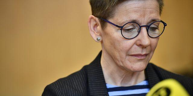 Ann-Sofie Hermansson under en pressträff efter att hon avgått som gruppledare för Socialdemokraterna i Göteborg. Foto: Björn Larsson Rosvall/TT