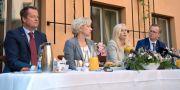 Anders Ygeman, inrikesminister, Helene Hellmark Knutsson, minister för högre utbildning och forskning, Anna Johansson, infrastrukturminister, och Mikael Damberg, närings- och innovationsminister. Erik Simander/TT / TT NYHETSBYRÅN