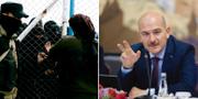 Till vänster: Vakter pratar med fångar i ett läger för IS-fångar. Till höger: Turkiets inrikesminister Suleyman Soylu TT