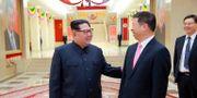 Kim Jong-Un och den kinesiske diplomaten Song Tao under besöket i Kina.  ????? / TT NYHETSBYRÅN