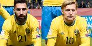 Jimmy Durmaz och Emil Forsberg. Pontus Lundahl/TT / TT NYHETSBYRÅN