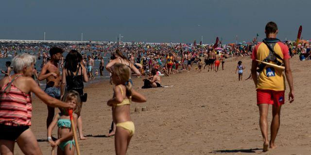 Stranden Ostend i Belgien, 6 augusti.  Virginia Mayo / TT NYHETSBYRÅN
