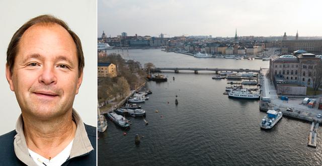 Björn Olsen / Flygbild över Skeppsholmen, Skeppsbron och Blasieholmen i Stockholm. Bildbyrån/TT