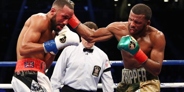 Badou Jack (höger) i matchen mot James DeGale 2017. Arkivbild. AL BELLO / GETTY IMAGES NORTH AMERICA