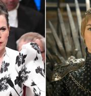 Arkivbilder.  Sara Danius (t v), Game of Thrones-karaktären Cersei Lannister (t h). TT