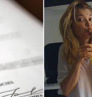T.v: Kontraktet. T.h: Den sista kända bilden på Gulnara Karimova, som uppges sitta i husarrest i Tashkent.