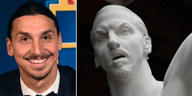Zlatan som människa och Zlatan som staty. TT
