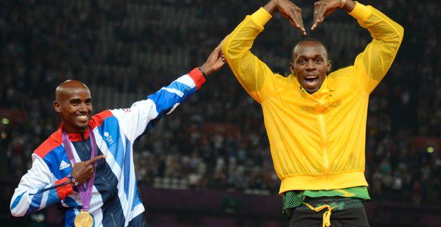 Farah och Bolt vid OS 2012. JOHANNES EISELE / AFP