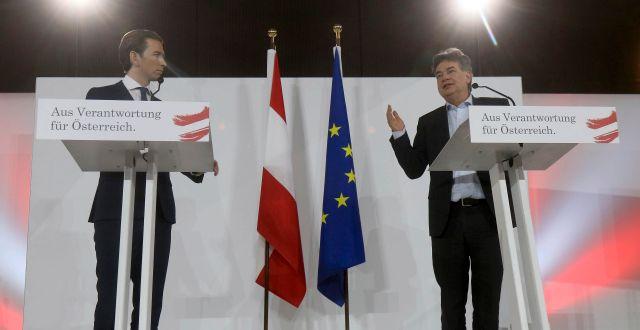 Sebastian Kurz och De grönas ledare Werner Kogler. Ronald Zak / TT NYHETSBYRÅN