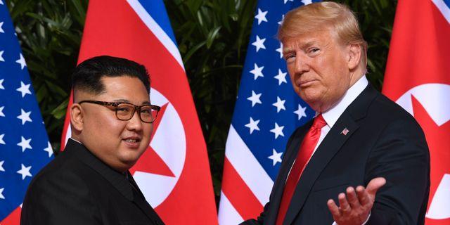 Kim Jong Un och Donald Trump i juni i år.  SAUL LOEB / AFP