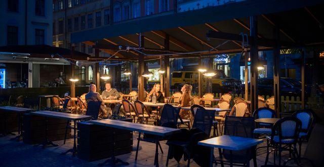 Uteservering i Gamla Stan, Stockholm.  Henrik Montgomery/TT / TT NYHETSBYRÅN