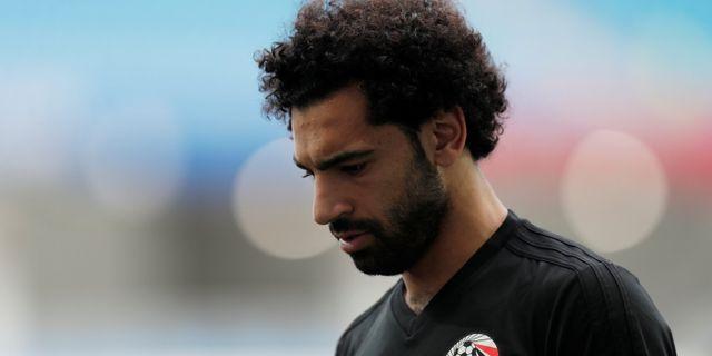 Mohamed Salah på träning inför VM. UESLEI MARCELINO / BILDBYR N