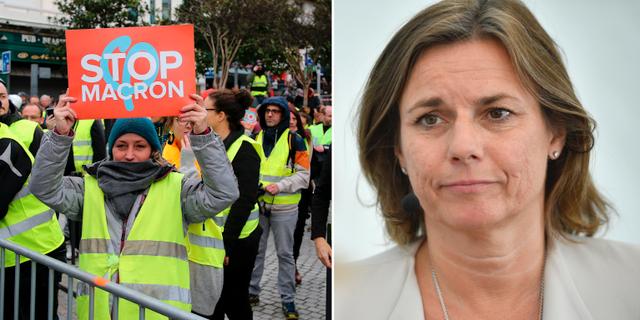 Arkivbilder. Gula västarnas protester (t v), Isabella Lövin (t h). TT