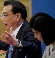 Li Keqiang vis presskonferensen. JASON LEE / TT NYHETSBYRÅN