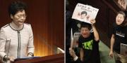 Hongkongs ledare Carrie Lam / protester i parlamentet. TT