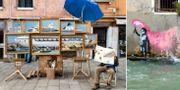 En man som tros vara Banksy sitter intill ett montage av tavlor i Venedig den 22 maj./Ett konstverk som tros vara målat av Banksy i Venedig.  TT