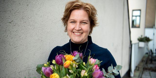 Karin Karlsbro efter att hon valts till EU-toppkandidat för Liberalerna. Jessica Gow/TT / TT NYHETSBYRÅN