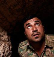 Peshmergasoldaten Sharif i IS tunnlar under byn Badana Bram Janssen / TT NYHETSBYRÅN