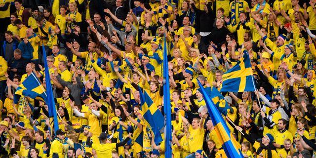 Svenska supportrar i EM-kvalet mot Färöarna. SIMON HASTEGÅRD / BILDBYRÅN