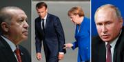 Arkivbilder: Erdogan, Macron och Merkel, Putin. TT