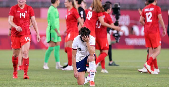 USA:s Carli Lloyd deppar efter förlusten. HENRY ROMERO / BILDBYRÅN