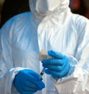 Sjukvårdare från WHO vid ett tidigare ebolautbrott i Kongo-Kinshasa/Arkivbild Al-hadji Kudra Maliro / TT NYHETSBYRÅN