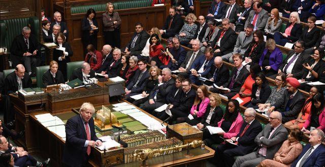 Boris Johnson i parlamentet på onsdagskvällen JESSICA TAYLOR / AFP