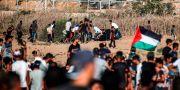 Palestinska demonstranter har samlats vid gränsen. MAHMUD HAMS / AFP