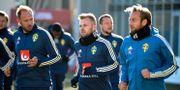 Sebastian Larsson med lagkamrater under dagens träning. Janerik Henriksson/TT / TT NYHETSBYRÅN