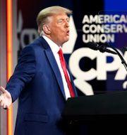 Trump höll tal sent på söndagskvällen. John Raoux / TT NYHETSBYRÅN