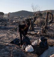 Ruinerna efter lägret Moria, Lesbos, Grekland. Petros Giannakouris / TT NYHETSBYRÅN