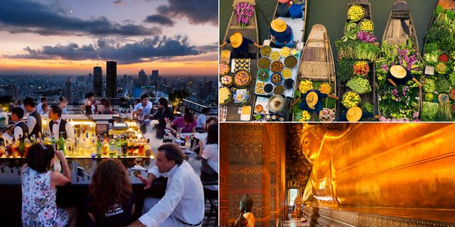 Takbaren Vertigo and Moon, den flytande marknaden och helgedomen Wat Pho är tre måsten i Bangkok,  resemagasinet Vagabond. Wikicommons
